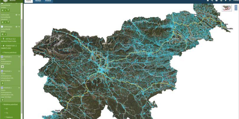 Poglej si, kakšna telekomunikacijska infrastuktura je na posamezni lokaciji