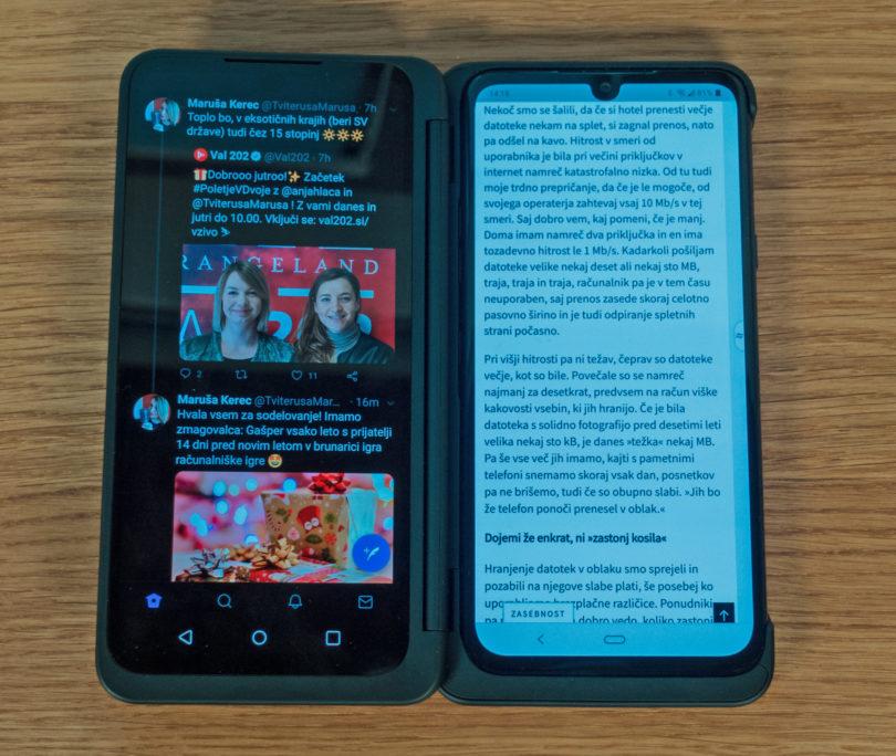 LG G8X ThinQ: Pri dveh zaslonih se morajo razvijalci še bolj potruditi za uporabnost