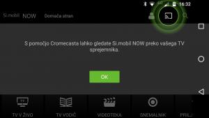 Aplikacija uporabniku že na začetku predstavi možnost chromecast, ki pa lahko deluje ali pa tudi ne.