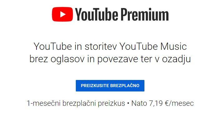 Youtube brez oglasov morda cenejši