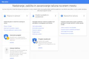 """V možnostih """"moj račun"""" v gmailu je treba poiskati razdelek prijava in varnost."""