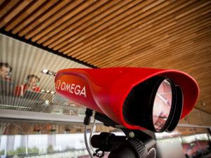Kamera za fotofiniš Scan'O'Vision MYRIA, ki je primarno namenjena atletiki. Foto Omega